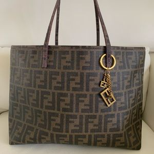 Fendi Zucca Pattern Shoulder/Tote Bag Brown/Purple